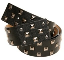 Black Hematite Pyramid Stud Plaque Belt - Studded Belt