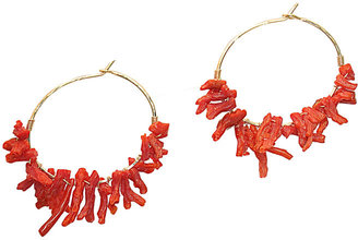 Calico Juno Designs Red Branch Coral Hammered Hoops - Seaside Accessories