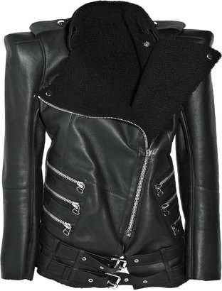 Balmain Strong-shouldered shearling motocross jacket - Outerwear