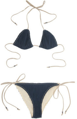 3.1 Phillip Lim Triangle Vertical Bikini in Navy - String Bikinis