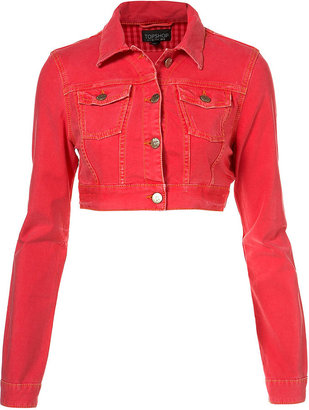 Bright Pink Crop Jacket - Topshop