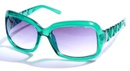 Clear Teal Quilted Arm Sunglasses - Sunglasses