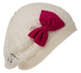 Ivory Fuchsia Bow Open-Knit Beanie - Knit Beanies 