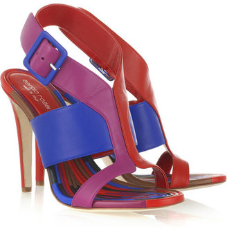 Sergio Rossi Block-color leather sandals - Shop Stacy Keibler's Colorful Style