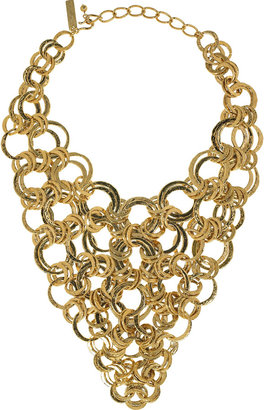 Oscar de la Renta 22-karat gold-plated bib necklace - Statement Necklace