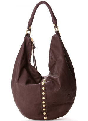 Linea Pelle Collection Joey Studded Hobo in Espresso - Studded Hobo Bag