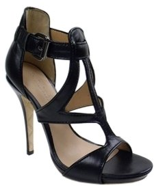 L.A.M.B. - Women&#39;s Black Leather Quiana Cutout Heels - Gladiator Heels