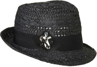 Embellished Straw Fedora - Black Fedora Hats