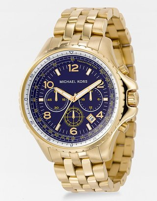 Michael Kors Blue-Dial Gold-Plated Chronograph Watch - Incredibly Gold Watches for Men