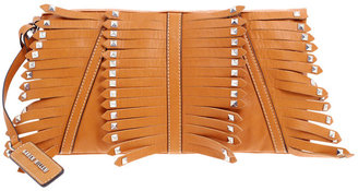 Karen Millen Fringe And Stud Soft Clutch - Leather Clutch