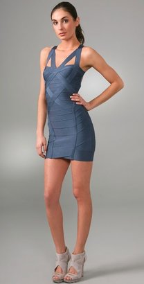 Herve Leger Novelty Essentials V Neck Cocktail Dress - Herve Leger