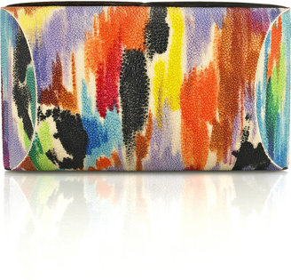 Celestina Hand-painted stingray clutch - Contemporary Box Clutch