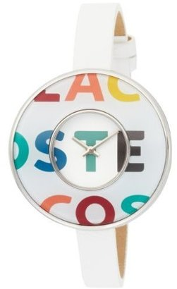 Lacoste Women's 2000542 Figari White Leather Multi-color Logo Bezel White Dial Watch - Wild Watches