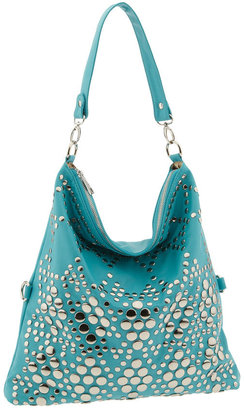 Melie Bianco Studded Convertible Faux Leather Hobo - Studded Hobo Bag