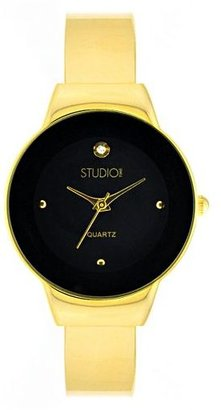 Studio time gold-tone simulated crystal bangle watch - Incredibly Gold Watches for Men