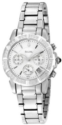 Bulova Women&#39;s 96R127 24 Diamond Case Silver and White Dial Bracelet Watch - Watches