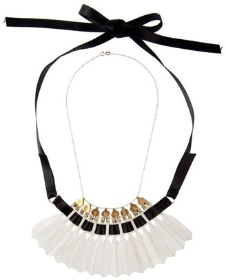 MIRIT WEINSTOCK - Feather and ribbon necklace - Statement Necklace