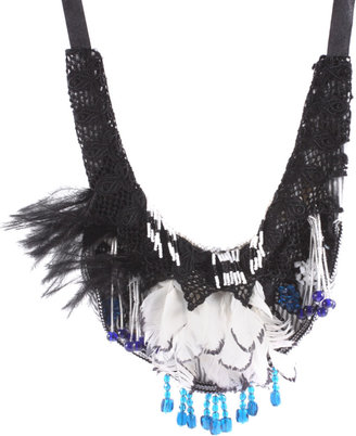 ASOS Statement Fabric And Feather Beaded Drop Bib Necklace (+) -  Bohemian Jewelry