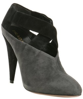 Prada asphalt suede cross strap booties - Shoes