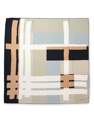 Burberry Brushed Block Check Silk Scarf, 35&quot; X 35&quot; - Accessories