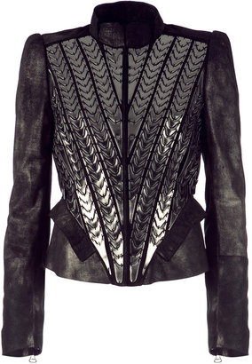Roberto Cavalli Bronze Color Embroidered Leatherjacket - Clothes