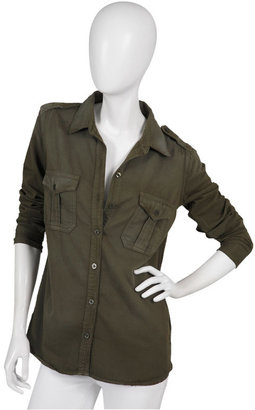 Equipment Saige Long Sleeve Military Blouse in Rifle Green - Clothes