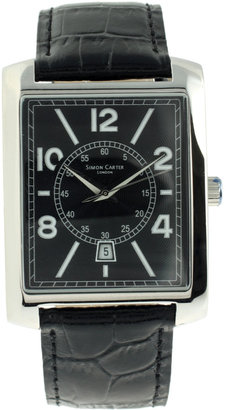 Simon Carter Printed Leather Strap Watch With Black Dial - Black Dial Watches for Men