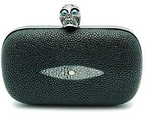 ALEXANDER McQUEEN &quot;236715&quot; Black Stingray Skull Clutch - Alexander McQueen