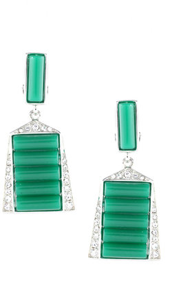Kenneth Jay Lane Green And Silver Drop Clip Earring (+) - Dangle Earrings