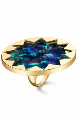 House of Harlow 1960 Starburst Cocktail Ring with Abalone Center - Decorative Rings