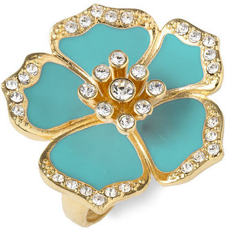 Ariella Collection Adjustable Pav Petal Enamel Ring - Jewelry