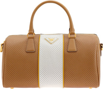 PRADA Fori Perforated Dome Bag - CARAMEL - Spring&#39;s Trendy Purses