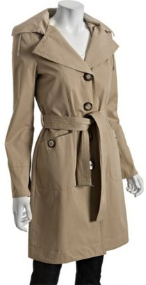 MICHAEL Michael Kors british khaki button front belted hooded raincoat - Michael Kors Spring 2010