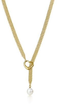 Elsa Peretti Open Heart mesh lariat - Gold Lariat Necklace