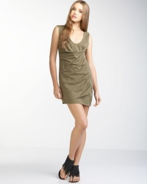 Shirred Zip Wrap Dress, Green - Mini Dress