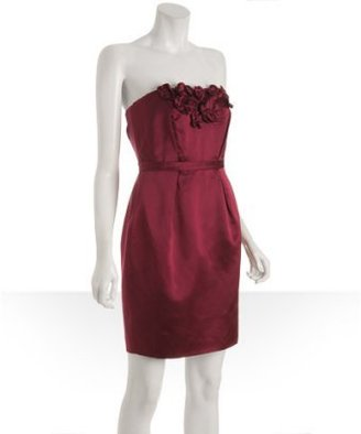 Vera Wang Lavender Label wine satin floral applique strapless dress - Vera Wang