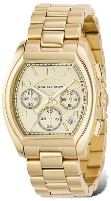 MICHAEL Michael Kors Gold Plated Stainless Steel Watch with Light Champagne Chronograph Dial, 39x36 mm - Incredibly Gold Watches for Men