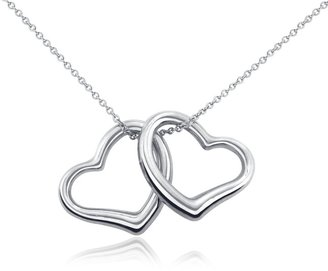 Classic Double Heart Pendant in Sterling Silver - Sterling Silver Heart Necklaces