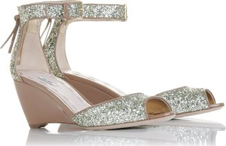 Miu Miu Glitter + Vernice Sandals - Not-So-Neutral Nude Shoes