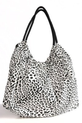 White and Black Leopard Cinch-Top Twill Hobo - Torrid