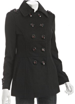 Miss Sixty black wool pleated back pea coat - Outerwear