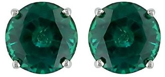 Round Created Emerald Earrings - Green - Dress Like Angelina Jolie