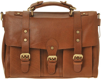 Warehouse Leather Buckle Satchel Bag - Warehouse