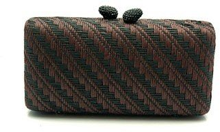 KOTUR &quot;JB Renna&quot; Black/Brown Straw Clutch - Kotur