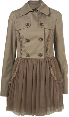 Tulle Hem Skirted Trench Coat - Khaki Trench Coats