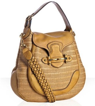 Gucci yellow straw &#39;New Pelham&#39; large shoulder bag - Satchel