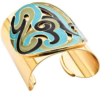 Ben-Amun Wide Gold Enameled Cuff - Jewelry