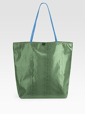 Carlos Falchi Embossed Microfiber Tote - Carlos Falchi