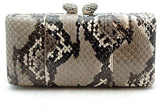 "KOTUR ""JB26151"" Grey Snake Clutch - Slithering Snakeskin Box Clutches"