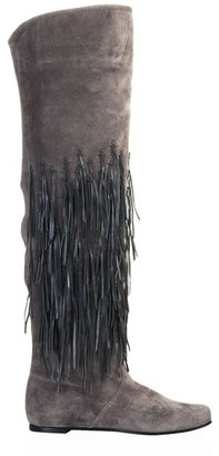 CASADEI - Suede fringed over-the-knee boot - Funky Fringe Boots
